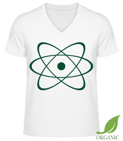 "Symbol Of An Atom - ""James"" Organic V-Neck T-Shirt - White - Vorn"