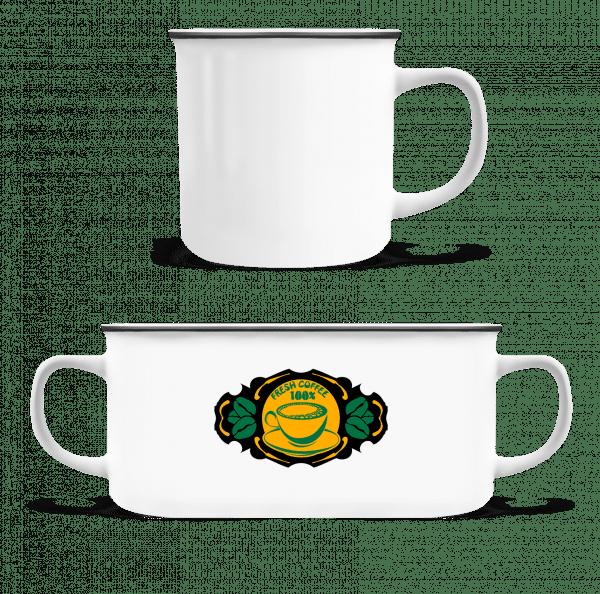 Fresh Coffee Logo - Enamel-cup - White - Front