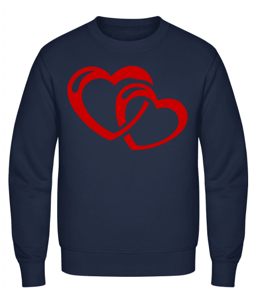 Hearts Icon Red - Classic Set-In Sweatshirt - Navy - Vorn