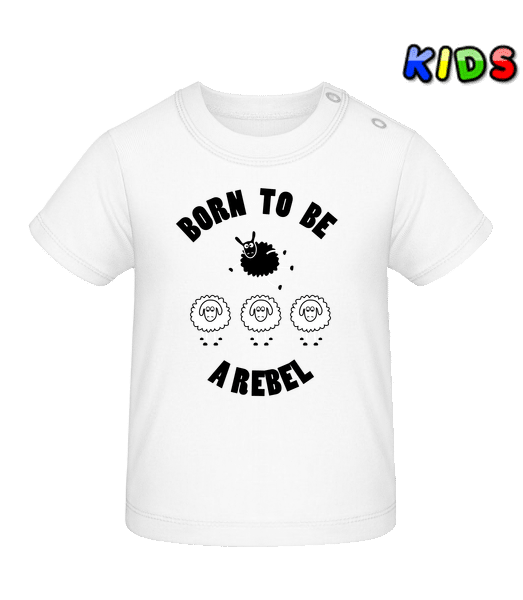 Born To Be A Rebel - Baby T-Shirt - White - Vorn