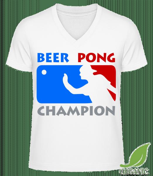 """Beer Pong Champion - """"James"""" Organic V-Neck T-Shirt - White - Vorn"""