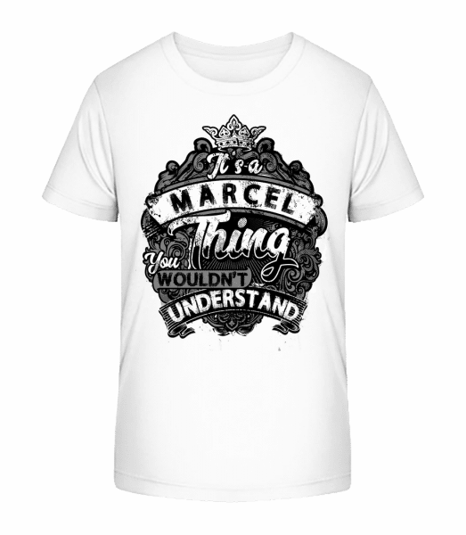 Je to vec Marcel - Detské Premium Bio tričko - Biela - Predné