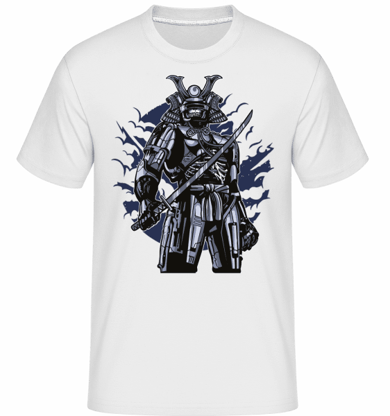 Samurai Robot Skull -  Shirtinator Men's T-Shirt - White - Vorn