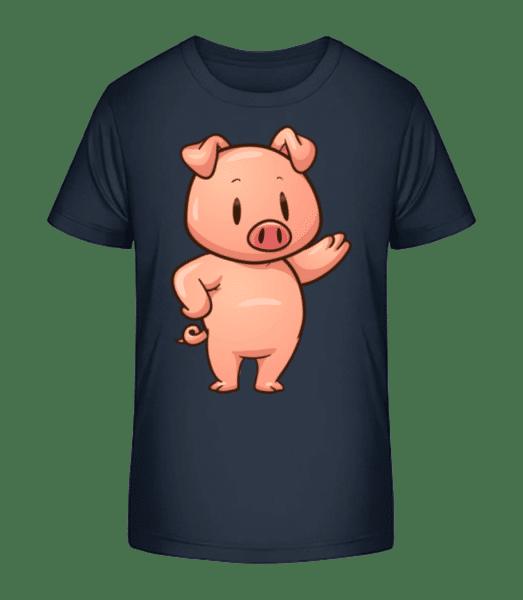 Piglet Standing Comic - Kid's Premium Bio T-Shirt - Navy - Front