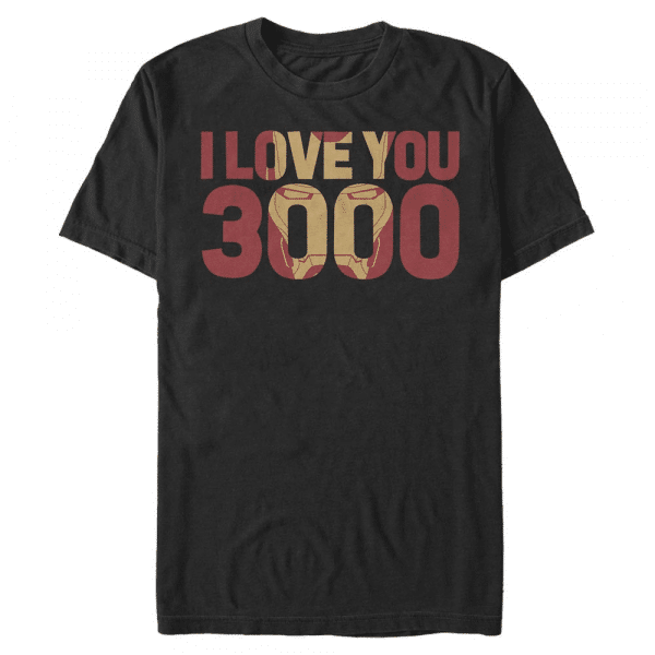 Love You 3000 Text - Marvel Avengers Endgame - Men's T-Shirt - Black - Front