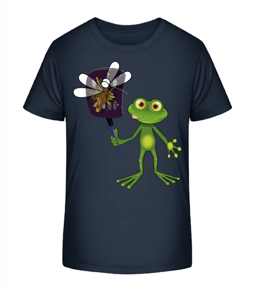 Frog With Fly Swatter - Kid's Premium Bio T-Shirt - Navy - Front