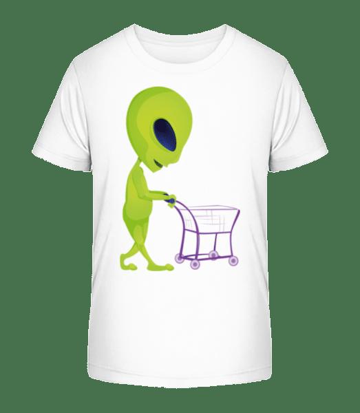 Alien With Shopping Cart - Kid's Premium Bio T-Shirt - White - Front