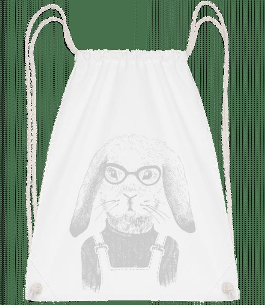 Hipster Rabbit - Drawstring Backpack - White - Vorn