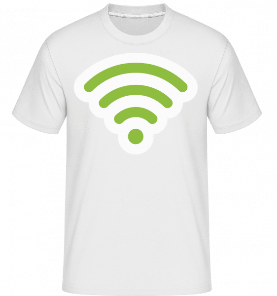 Wlan Icon Green -  T-Shirt Shirtinator homme - Blanc - Vorn