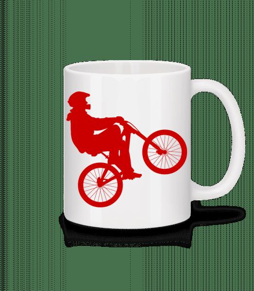 Cycliste Wheelie - Keramický hrnček - Biela - Predné