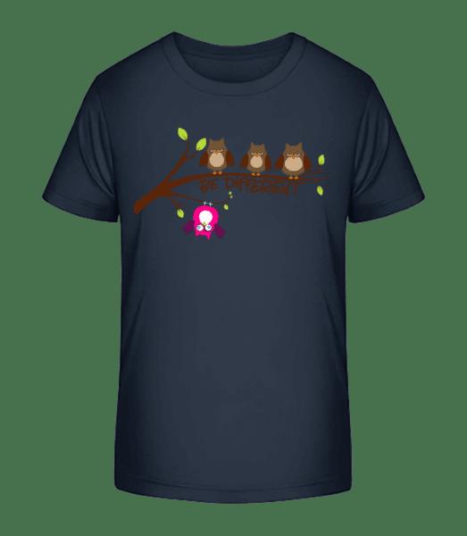Be Different Owls - Kid's Premium Bio T-Shirt - Navy - Vorn