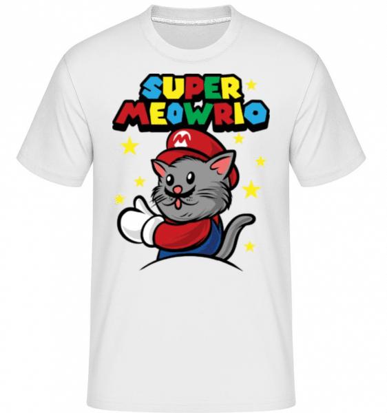Super Meowrio -  Shirtinator Men's T-Shirt - White - Front