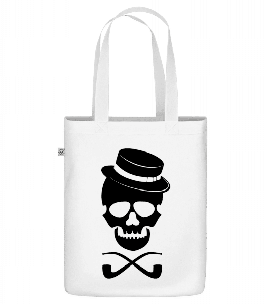 """Skull With Hat - Organic """"Earth Positive"""" tote bag - White - Vorn"""