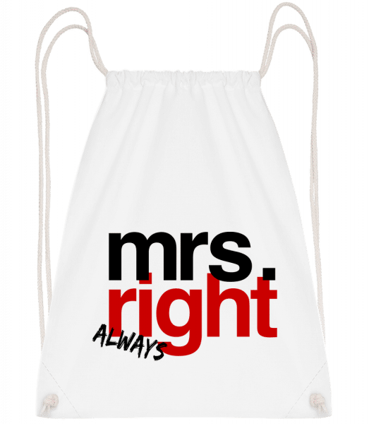 Mrs. Always Right Logo - Drawstring Backpack - White - Vorn