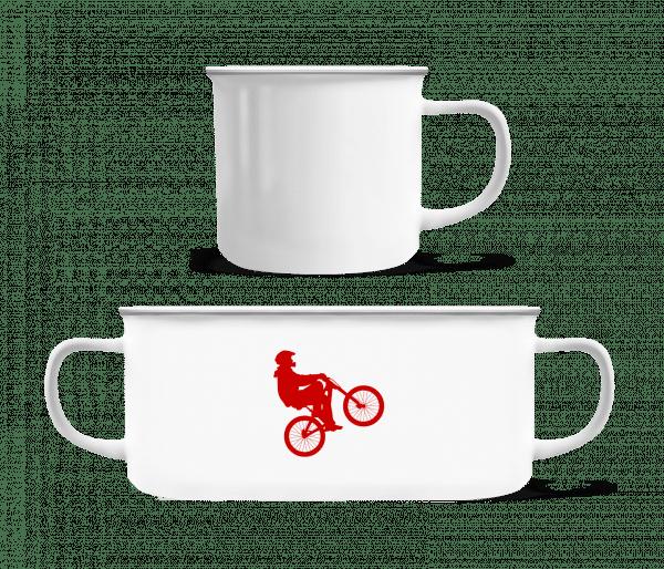 Cycliste Wheelie - Enamel-cup - White - Vorn