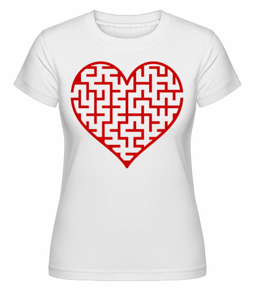 Heart Maze Red -  T-shirt Shirtinator femme - Blanc - Vorn