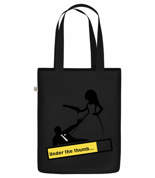 "Under The Thumb - Organic ""Earth Positive"" tote bag - Black - Front"