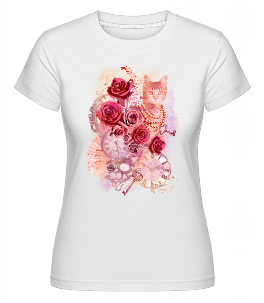 Rose Cat -  Shirtinator Women's T-Shirt - White - Front
