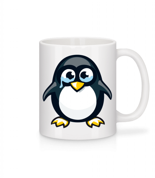 Sad Penguin - Keramický hrnek - Bílá - Napřed