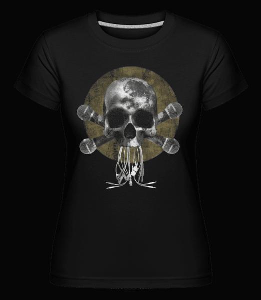 Skull With Microphones -  Shirtinator Women's T-Shirt - Black - Vorn