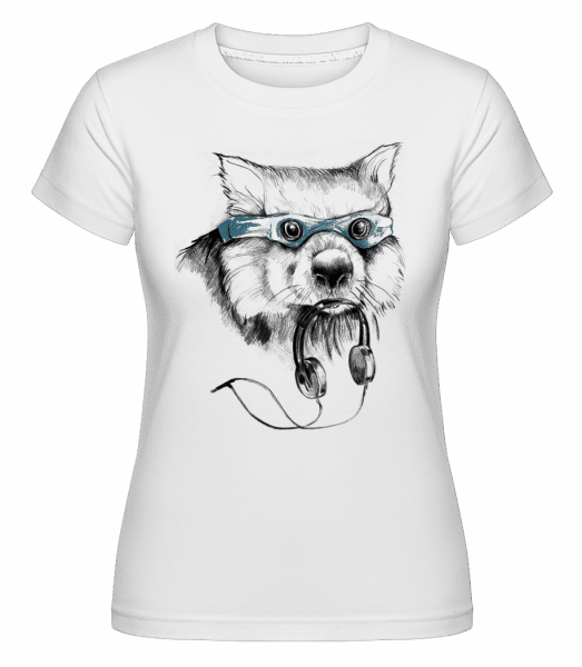 Funny Raccoon With Swimming Goggles -  Shirtinator Women's T-Shirt - White - Vorn