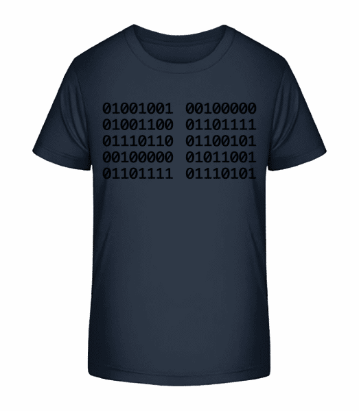 I Love You Code - T-shirt bio Premium Enfant - Bleu marine - Vorn