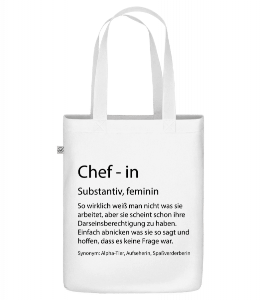 Chefin Quatsch Duden - Bio Tasche - Weiß - Vorn