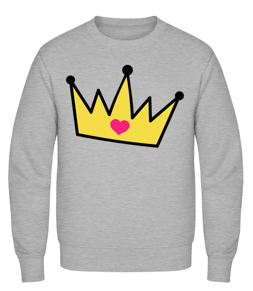 Crown With Heart - Männer Pullover - Grau Meliert - Vorn