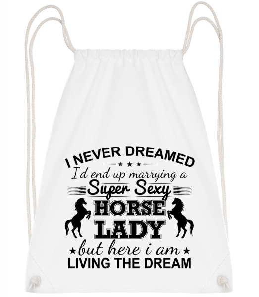 Sexy Horse Lady - Drawstring Backpack - White - Vorn