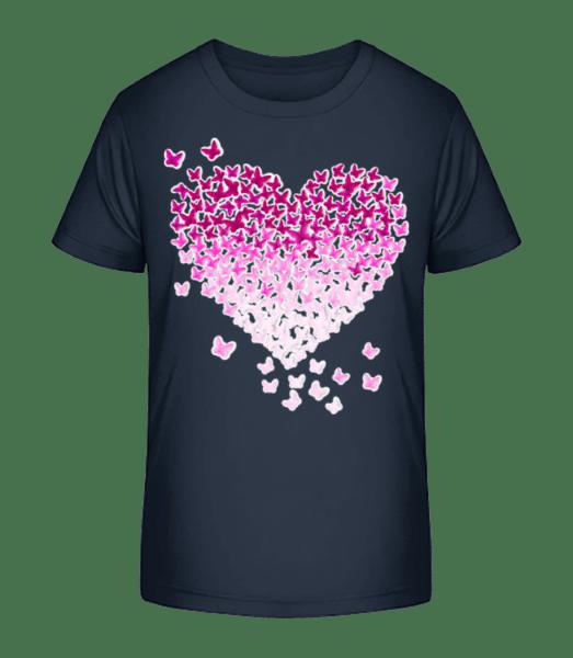 Butterfly Heart - Kid's Premium Bio T-Shirt - Navy - Vorn