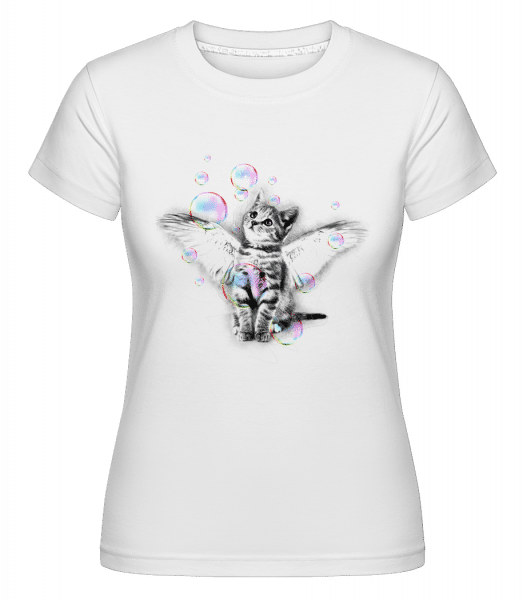 Soapbubble Cat -  Shirtinator Women's T-Shirt - White - Vorn