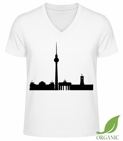 "Berlin Germany - ""James"" Organic V-Neck T-Shirt - White - Vorn"