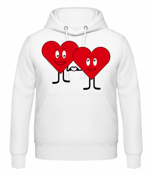 Two Hearts Love Each Other - Men's Hoodie - White - Vorn