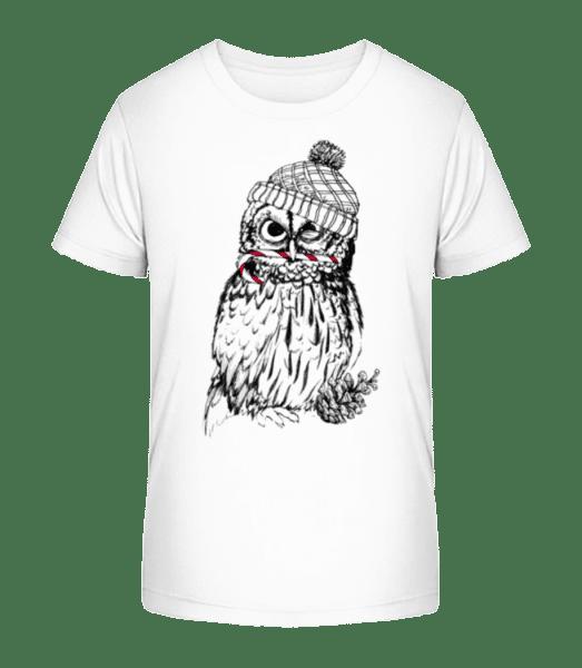 Weihnachtseule - Kinder Premium Bio T-Shirt - Weiß - Vorn