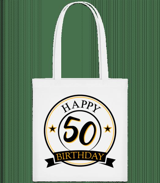 Happy Birthday 50 - Stoffbeutel - Weiß - Vorn