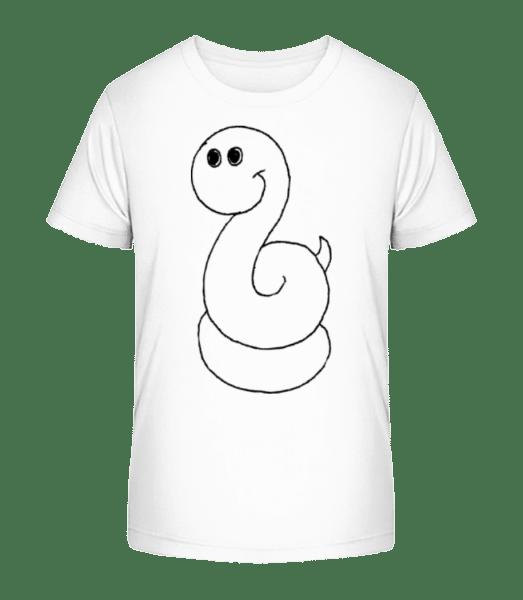 Kinder Comic - Schlange - Kinder Premium Bio T-Shirt - Weiß - Vorn