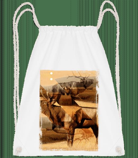 Deer Creative - Drawstring Backpack - White - Vorn