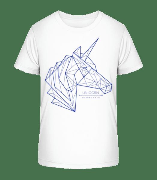 Geometrie Einhorn - Kid's Premium Bio T-Shirt - White - Vorn