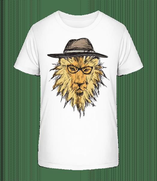 Lion With Hat - Kid's Premium Bio T-Shirt - White - Front
