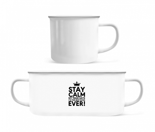 Stay Calm I'm The Best Boss - Enamel-cup - White - Vorn