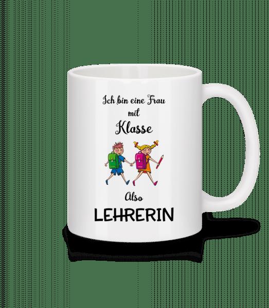 Frau Mit Klasse Lehrerin - Tasse - Weiß - Vorn