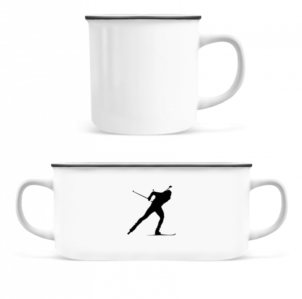 Skiing Cross Country Black - Enamel-cup - White - Front