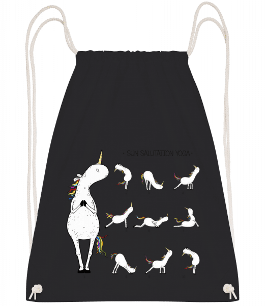 Yoga Einhorn Figuren Sonnengruß - Turnbeutel - Schwarz - Vorn