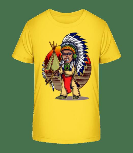 kouří Indian - Detské Premium Bio tričko - Žlutá - Napřed