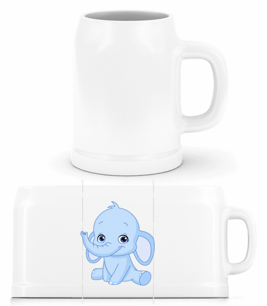Elefant Comic - Bierkrug - Weiß - Vorn