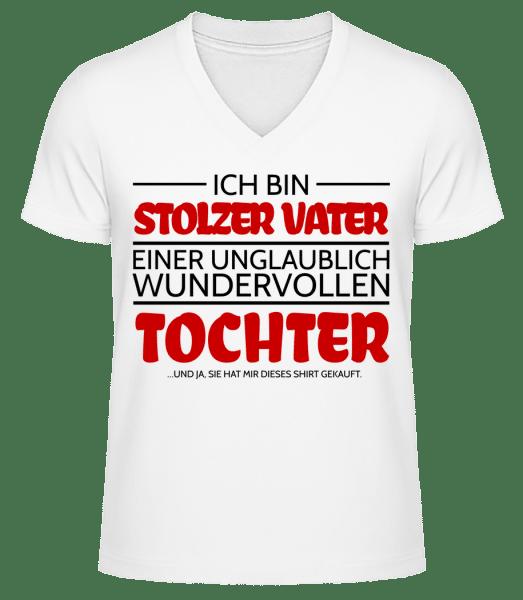 Stolzer Vater Einer Tochter - Männer Bio T-Shirt V-Ausschnitt - Weiß - Vorn