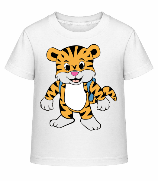 Cute Tiger With Bag - Kid's Shirtinator T-Shirt - White - Vorn
