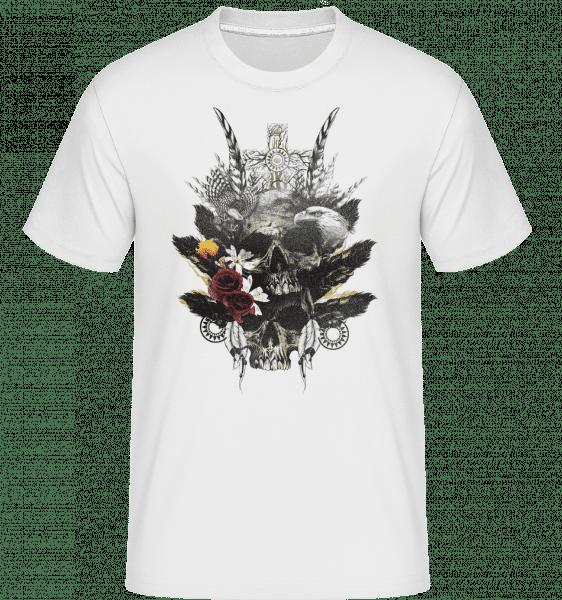 Feather Skulls -  Shirtinator Men's T-Shirt - White - Vorn