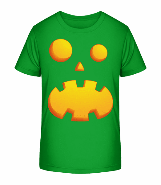 Pumpkin Face Astonished - Kid's Premium Bio T-Shirt - Green - Front