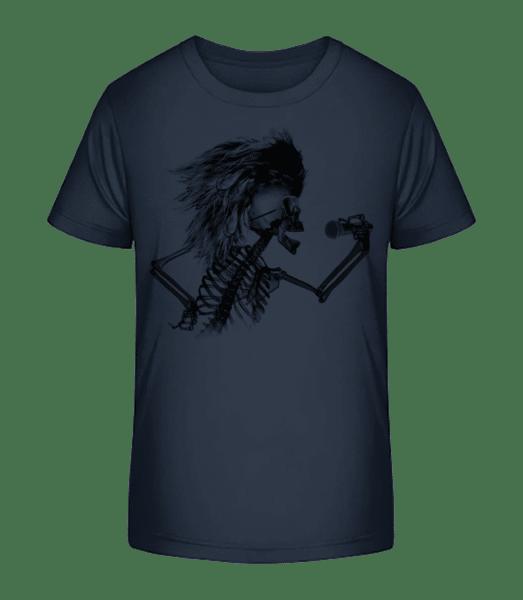 Singing Skeleton - Kid's Premium Bio T-Shirt - Navy - Vorn